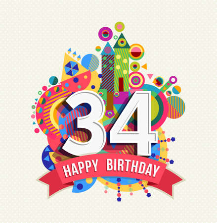 34: Happy Birthday thirty four 34 year Illustration