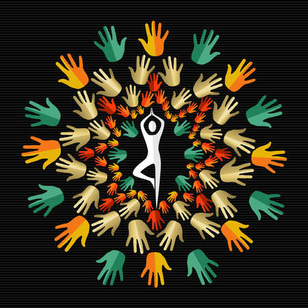 humankind: Mandala design made with colorful human hands and person silhouette doing yoga pose. Illustration