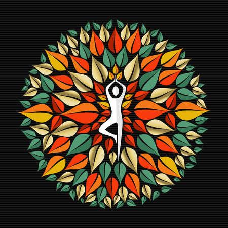 Mandala en feuilles des arbres avec la silhouette faisant du yoga pose dans le centre, le concept de la nature illustration. vecteur EPS10. Banque d'images - 52426541