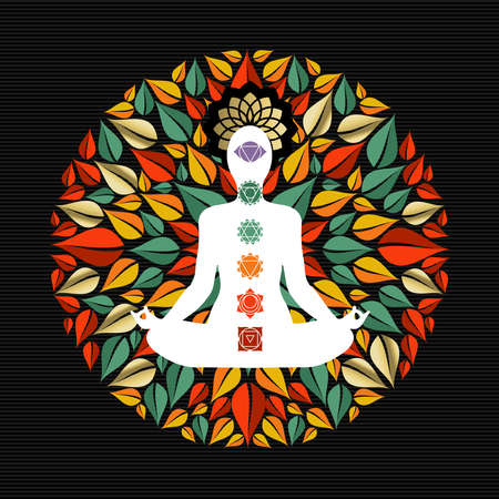 Mandala made of tree leaves with body silhouette doing yoga lotus pose and chakra icons.