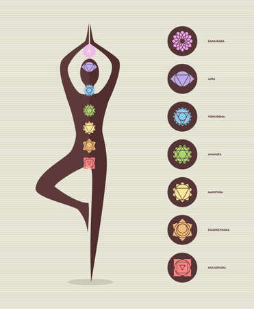 Modern main chakra icon set with body silhouette doing yoga pose. Illustration