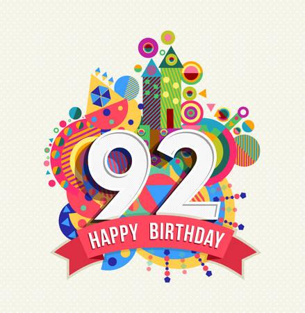 ninety: Happy Birthday ninety two 92 year. Illustration
