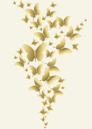 Golden spring butterflies flying on empty Stock Vector - 52426642