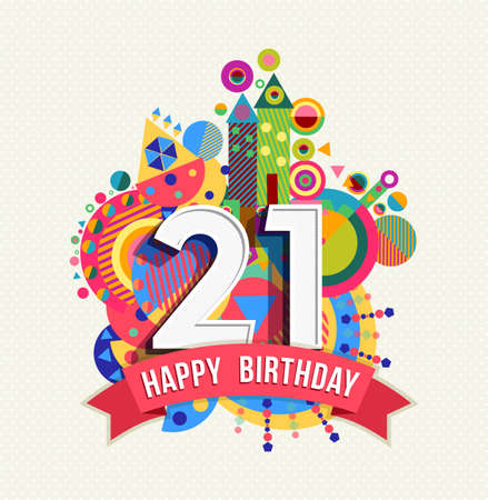 Happy Birthday twenty one 21 year Vectores