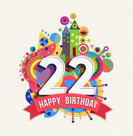 Happy Birthday twenty two 22 year Ilustrace