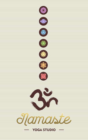 namaste: Namaste yoga studio concept template for business with chakra icons and om calligraphy element. Illustration