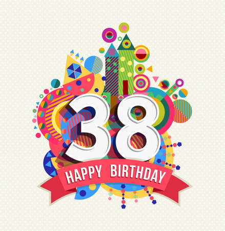 38: Happy Birthday thirty eight 38 year Illustration