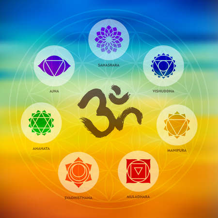 flower of life: Chakra icons composition with om calligraphy and sacred geometry design on colorful blur background. Illustration
