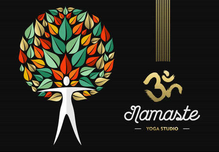 namaste: Concept body silhouette with nature leaf design and indian culture elements for yoga studio business.