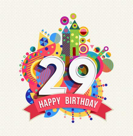 29: Happy Birthday twenty nine 29 year Illustration