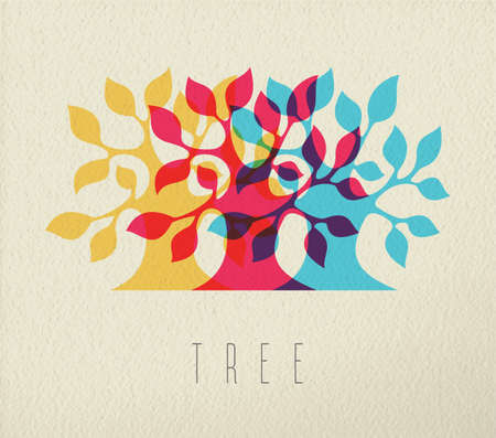 diversity: Colorful tree silhouette, nature concept illustration with text on texture background.