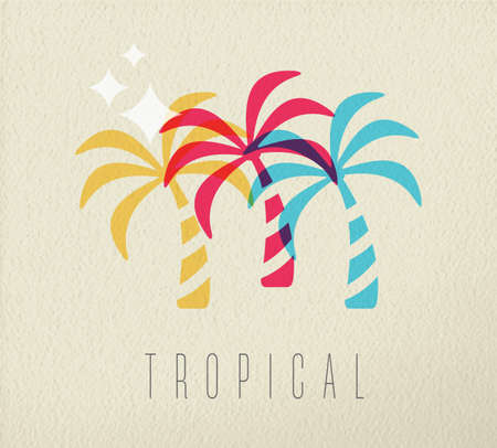 Tropical beach vacation concept illustration with colorful summer palm tree on texture background.
