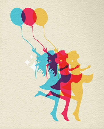 balloon woman: Happy woman silhouette dancing with balloon, colorful concept illustration on texture background.