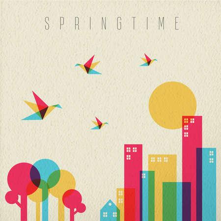 silhouette fleur: Spring time concept illustration. ville urbaine avec la forêt des arbres, des oiseaux et des bâtiments aux couleurs vives sur vintage background texture. vecteur EPS10. Illustration