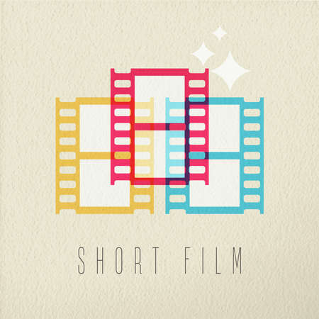 film: Short film icon, concept illustration of video movie strip in colorful transparent style over texture background. EPS10 vector.