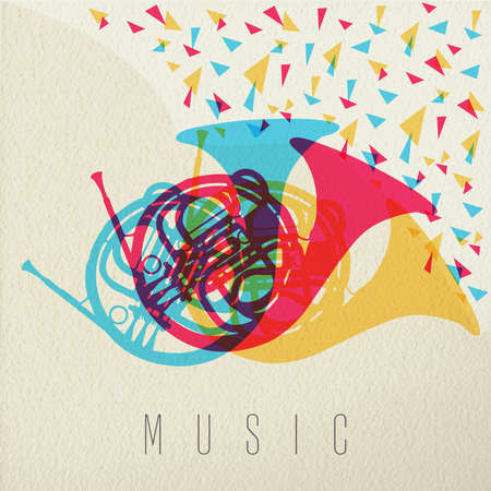 cuernos: Concepto de la música, francés cuerno instrumento silueta en el estilo de múltiples colores sobre fondo de textura. EPS10 del vector. Vectores