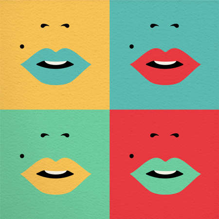 beauty girls: Retro pop art style concept illustration, abstract girl face with lipstick and beauty mark for international women day. EPS10 vector. Illustration