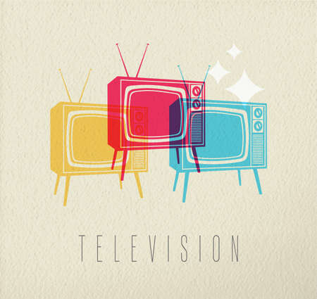 home entertainment: Television concept illustration, colorful tv silhouettes on texture background. EPS10 vector. Illustration