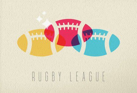 league: Rugby league concept, sport ball colorful icon silhouette on texture background. EPS10 vector.