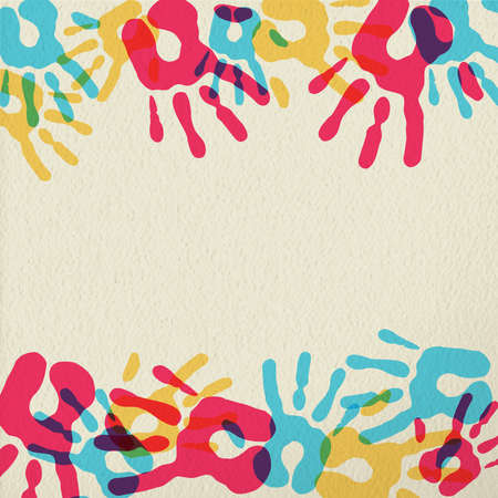 transparent background: Hand prints color art, community group concept in diversity colors over paper texture background. EPS10 vector. Illustration