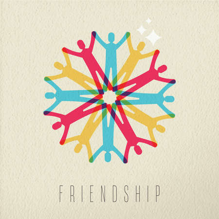 team hands: Friendship diversity group concept, illustration of diverse people team holding hands in colorful style over texture background. EPS10 vector.