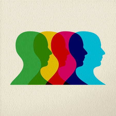 individual color: People silhouettes concept illustration from profile side view. Colorful man head modern design on texture background. EPS10 vector. Illustration