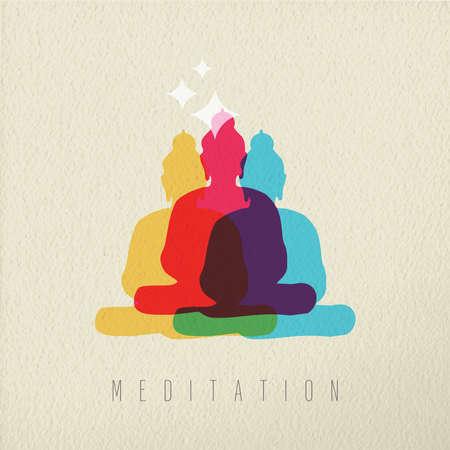 Meditatie concept pictogram, illustratie van Aziatische cultuur Boeddha god standbeeld in kleurrijke stijl over textuur achtergrond. EPS10 vector.