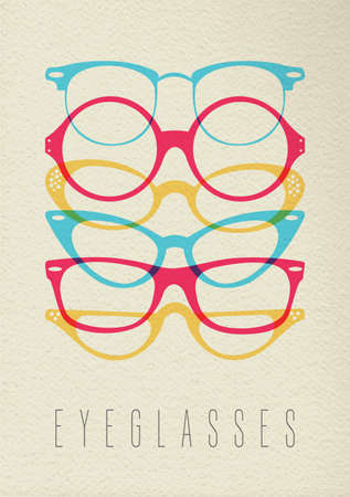 Fashion eye glass concept icon, illustration of hipster vintage glasses in colorful transparent style over texture background. EPS10 vector. Illustration