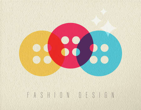 fashion design: Fashion design concept icon, illustration of clothing button in colorful transparent style over texture background. EPS10 vector.