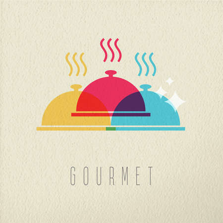 gourmet: Gourmet cuisine concept, hot restaurant food with plate cover in color style over texture background. EPS10 vector.