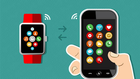 holding smart phone: Concept technology illustration of human hand holding mobile phone with smart watch connection and app icons on screen. EPS10 vector.