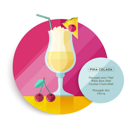 pina colada: Pina colada cocktail drink recipe for party or summer vacation with ingredients text and colorful flat art fruit illustration. EPS10 vector.