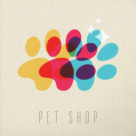 Animalerie concept, patte de chien illustration avec la silhouette colorée sur fond texture. vecteur EPS10.