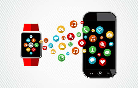 compatibility: Concept flat art style illustration of smart watch and mobile phone with colorful app icons connecting on screens. EPS10 vector. Illustration