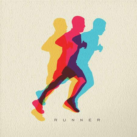 Runner concept illustratie van de man atleet silhouet van het runnen van een race. Kleurrijk modern design op de textuur achtergrond. EPS10 vector.