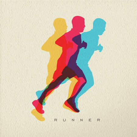 Runner concept illustration of man athlete silhouette running a race. Colorful modern design on texture background. EPS10 vector.