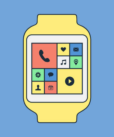 gadget: Smart watch illustration in modern line art style with colorful social app icons and isolated background. EPS10 vector.