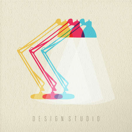 desk lamp: Design studio icon concept illustration of office desk lamp in colorful transparent style over texture background. EPS10 vector.