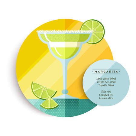 margarita: Margarita cocktail drink recipe illustration in colorful flat art design style with summer fruit decoration and ingredients text. EPS10 vector.