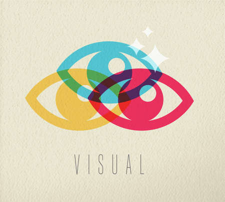 human eye: Visual concept icon, illustration of human eye anatomy in colorful transparent style over texture background. EPS10 vector.