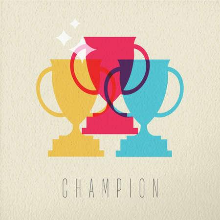 primer lugar: Campeón del concepto de icono, en primer lugar premio trofeo victoria en el estilo de color sobre el fondo de la textura. EPS10 del vector.