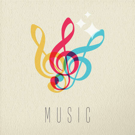 treble g clef: Music concept, treble g clef musical note icon in color style over texture background. EPS10 vector. Illustration