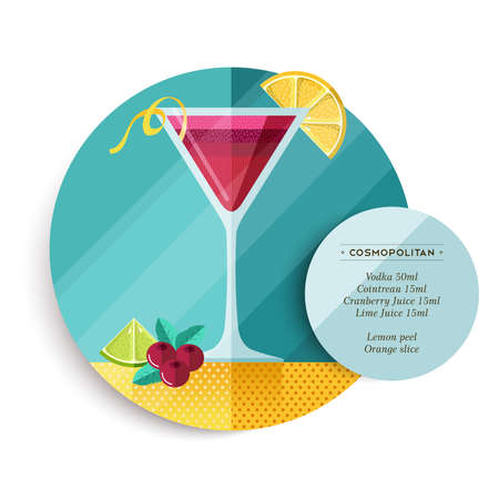 cranberry illustration: Cosmopolitan cocktail drink recipe illustration in colorful flat art design style with summer fruit decoration and ingredients text. EPS10 vector. Illustration