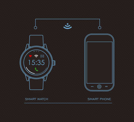 internet phone: Concept outline illustration of internet connected smart watch and mobile phone with social app icons on screen. EPS10 vector.