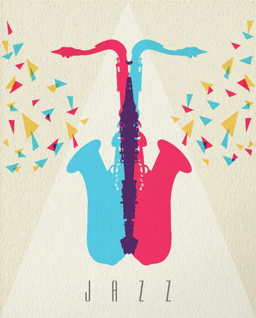 wind instrument: Jazz music concept, saxophone instrument silhouette in color style over texture background. EPS10 vector. Illustration