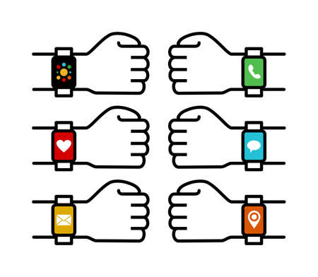 human hands: Set of human hands wearing smart watches with colorful social app icons in simple line art style. EPS10 vector. Illustration