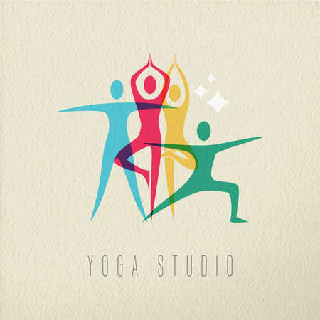 yoga studio: Yoga studio concept, illustration of people doing gym fitness pose in colorful style over texture background. EPS10 vector.