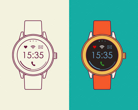 classic art: Classic retro smart watch illustrations, flat line art style composition with social app icons and outline design. EPS10 vector. Illustration