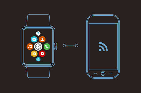 PHONE LINE: Concept illustration of smart watch and mobile phone with social app icons on screen in outline line art style. EPS10 vector.