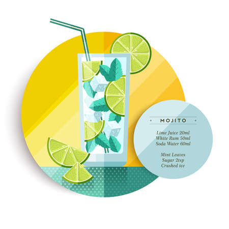 menu: Mojito cocktail drink recipe for party or summer vacation with ingredients text and colorful flat art fruit illustration. EPS10 vector.